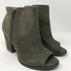 Restricted Perforated Peep Toe Booties Leather